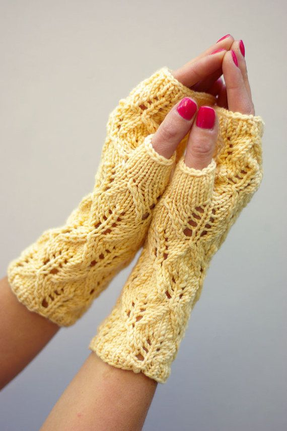Fingerless gloves lace arm warmers knit fingerless by ESTtoYou