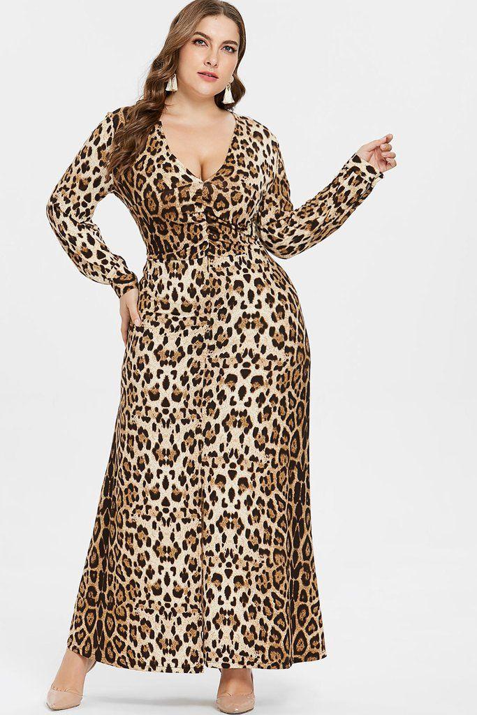 f08298433ab7 PLUS SIZE QUEEN LEOPARD PRINT V NECK MAXI DRESS Description Silhouette:  A-Line Waistline: Empire Pattern Type: Leopard Neckline: V-Neck Dresses  Length: ...
