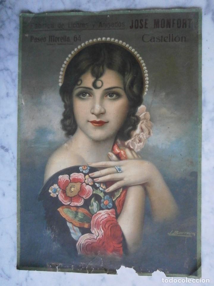 lamina de almanaque fabrica de licores y anisados jose monfort castellon ilustra j barreiro - Foto 1