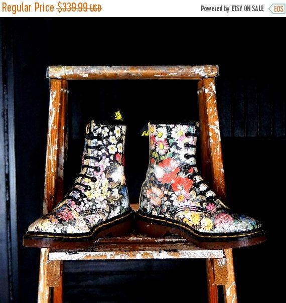 Dr Martens Vintage Boots Floral 8 Eye Flower Docs  UK 2 US 4 Leather DMs Vintage Doc Martens Sienna Miller Punk Grunge Shoes Made in England by RenegadeRevival on Etsy https://www.etsy.com/listing/156717618/dr-martens-vintage-boots-floral-8-eye