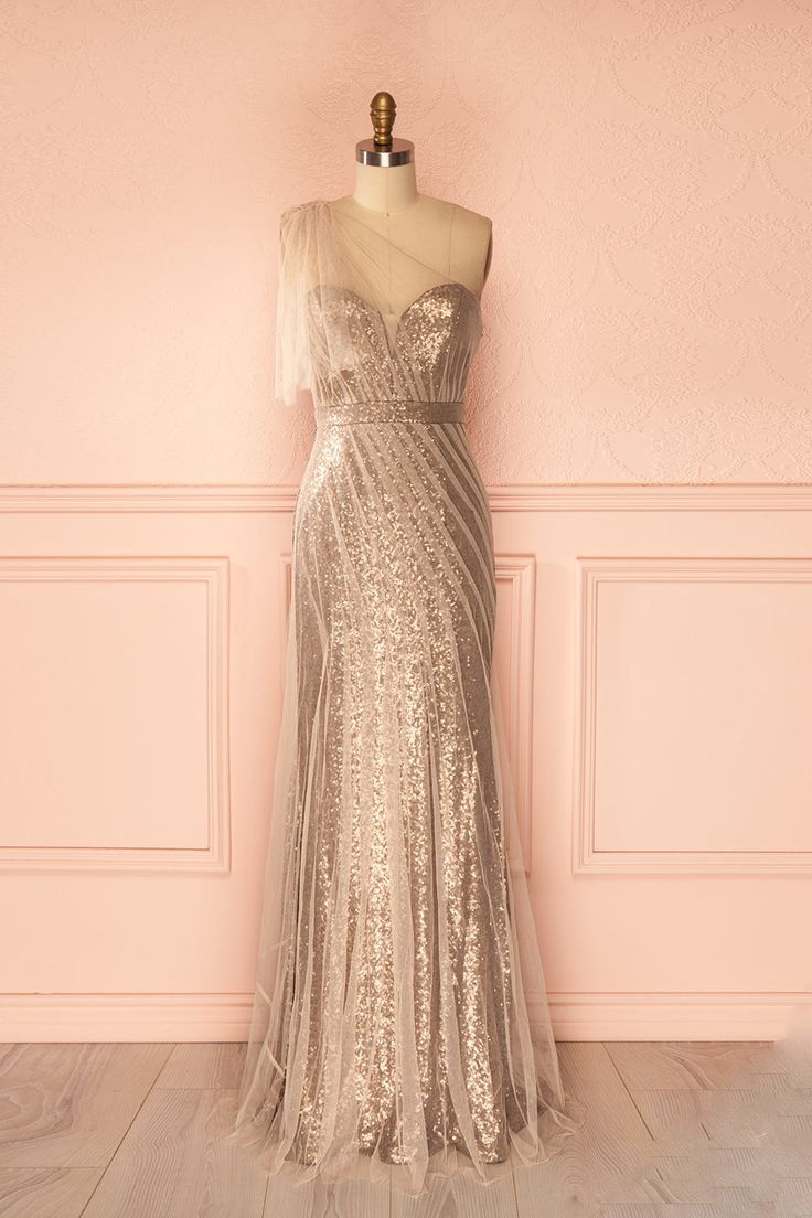 Champagne Long Sheath Evening Dresses One Shoulder Sequins Tulle Women Formal Party Dresses Floor Length Prom Gowns