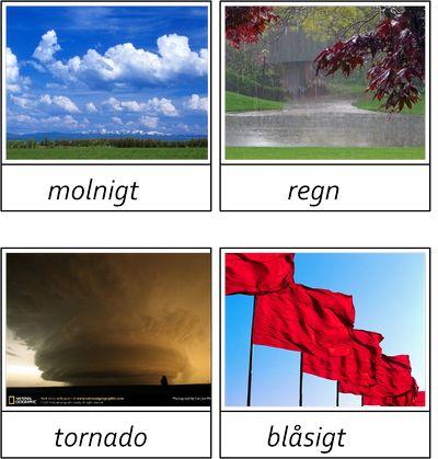 14 kort i 3 delar om väder. Saknar du något väder så hör gärna av dig så lägger jag till.Vill du ha materialet så maila mig. montessorimaterial@hotmail.com