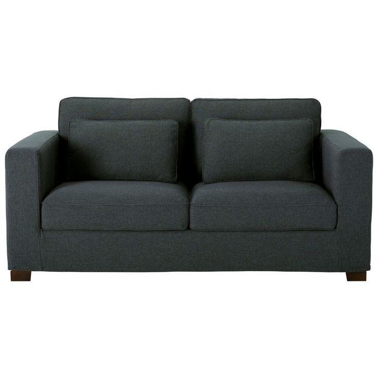 Canapé-lit 3 places en coton gris ardoise, matelas 6 cm | Maisons du Monde