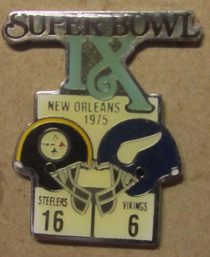 Rare Super Bowl IX Steelers Vs. Vikings 1975 pin Starline NFL Free Shipping #Starline