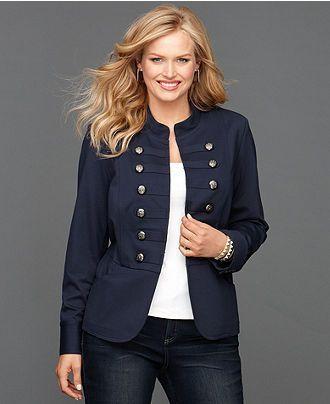 green plus size military jacket | Military jacket - INC