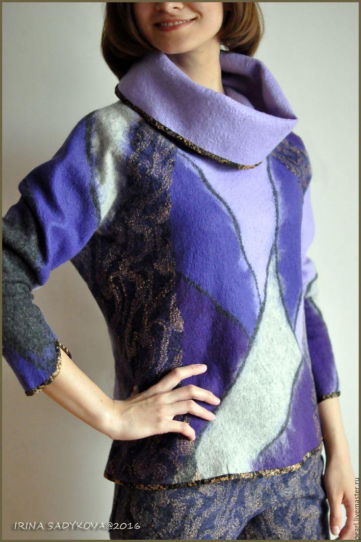 """Купить Свитер с воротником хомут """"Прованс"""" - комбинированный, абстрактный, свитер, ворот-хомут, свитер с хомутом"""