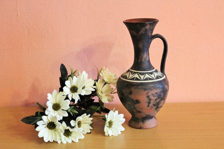 Vintage Brown Scandinavian Ceramic Pottery Pitcher, Sweden Swedish Jug Decanter Handled Vase by Grandchildattic on Etsy
