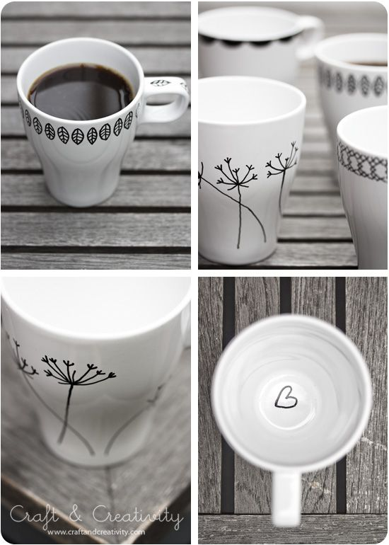 Design your own mugs with a porcelain marker - by Craft  Creativity