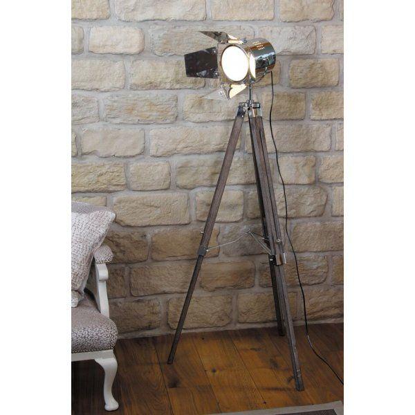 32-012-C Hereford Tripod Film Floor Lamp Wood/Metal