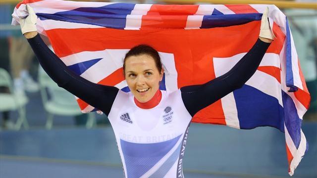 Victoria Pendleton celebrates her keirin gold medal