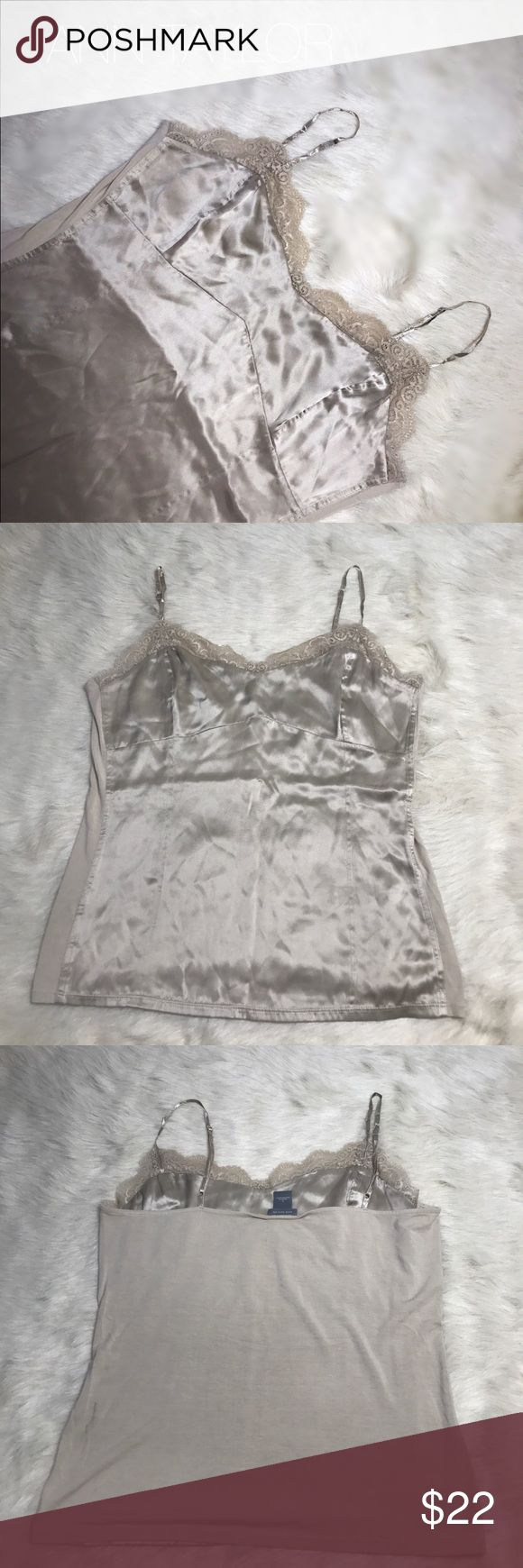 ann taylor silk rayon lace cami - bodycon, top like new w/o tag in large no flaws size Large in Light sunset gold - gorgeous fit x feel Ann Taylor Tops