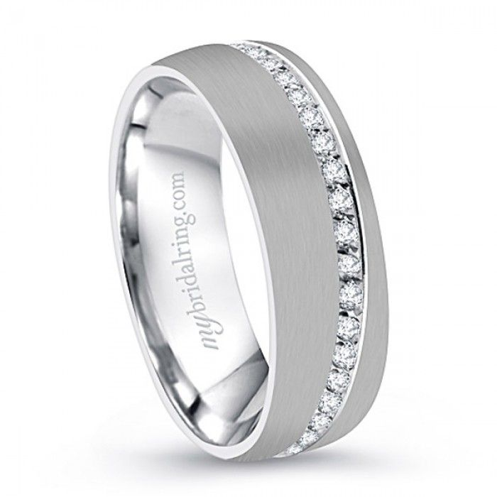 Men's Wedding Band - I love this with unexpected accents!!! - http://www.mybridalring.com/Mens/brush-finish-mens-diamond-accent-wedding-band/