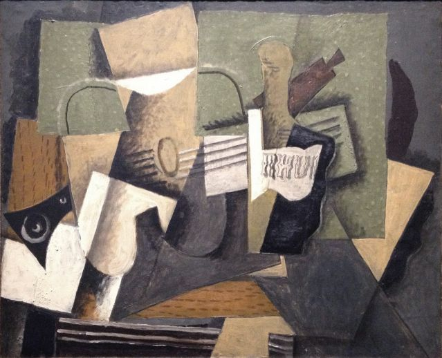 Bron : https://en.wikipedia.org/wiki/File:Georges_Braque,_1918,_Rhum_et_guitare,_oil_on_canvas,_60_x_73_cm,_Abell%C3%B3_Collection,_Madrid.jpg Georges Braque, Rhum et guitare 1918, 60 x 73 cm Abelló Collection, Madrid (geraadpleegd op 06-05-2016)(synthetisch kubisme)