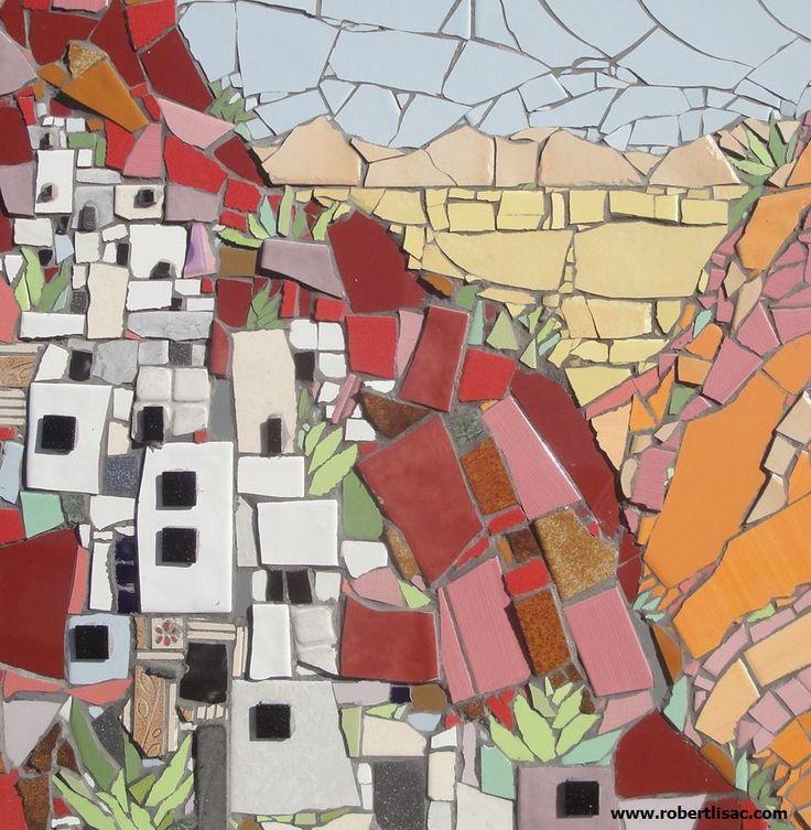 Pueblo Village 50 Cm X Ceramic Tiles Mosaic Cityscape By
