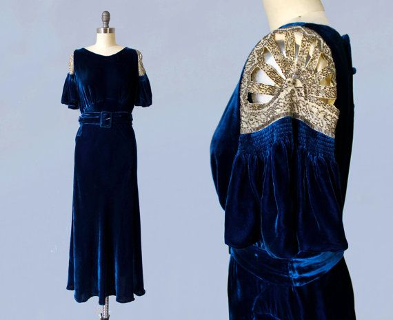 1930s Dress / 30s BEADED Cut Out Sleeve by GuermantesVintage