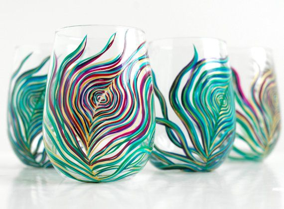 Painted Peacock Glasses