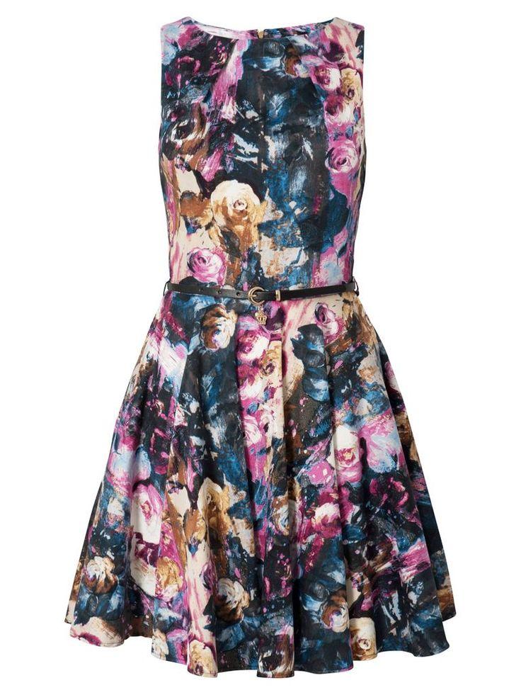 closet printed flared dress multi by closet snap fashion