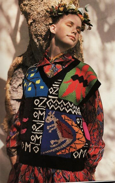 Knitwear from Australian fashion designers Jenny Kee and Linda Jackson. 1980's. Jenny wrote the knitting books Knits from Nature and Winter Knits, published in 1988 and 1990.
