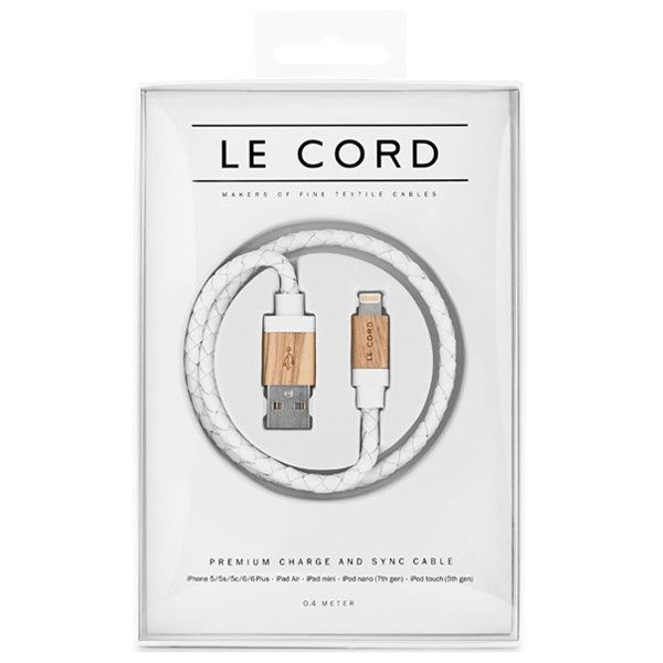 Câble de chargement Le Cord cuir blanc et bois