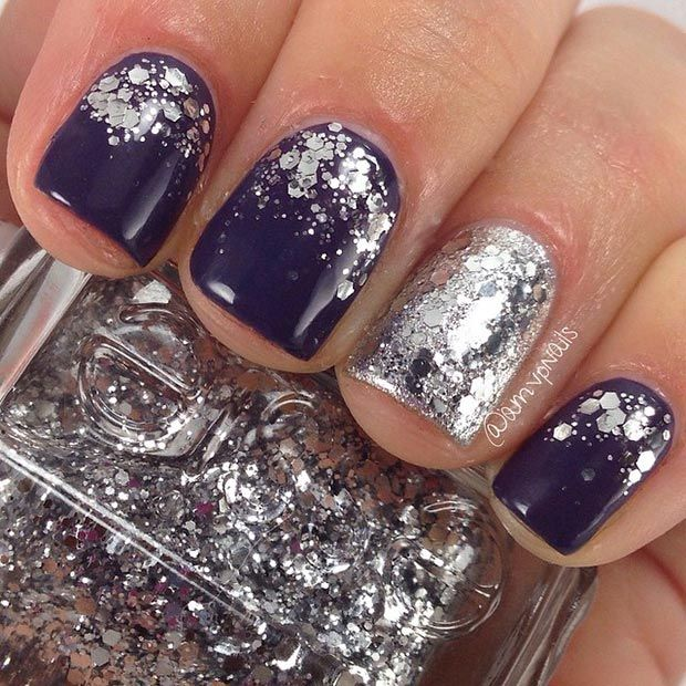 Dark Purple Nail Design with Silver Glitter