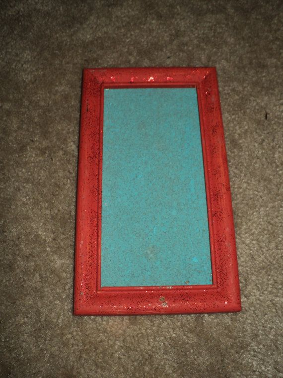Painted cork board in wooden frame with glitter by for Painted cork board ideas