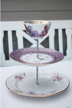 DIY. Could be a great jewelry holder! Bracelets on the plates and rings in the cup...