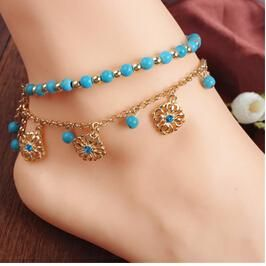 Summer Multilayer Metal Chains Natural Green Stone Bead Anklet