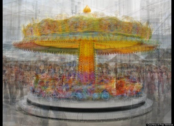 """Catalan artist Pep Ventosa's artwork challenges the notion that a photograph can capture only one specific moment in time. Instead, his series, """"In The Round - Carousels,"""" conveys the passing of many moments, creating a photographic amalgamation of different colors, shapes and forms. At first glance, his carousels appear to move before your eyes."""