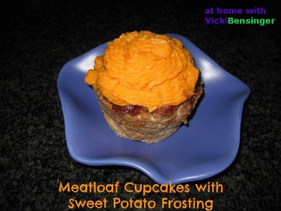 Meatloaf Cupcakes with Mashed Sweet Potato Frosting
