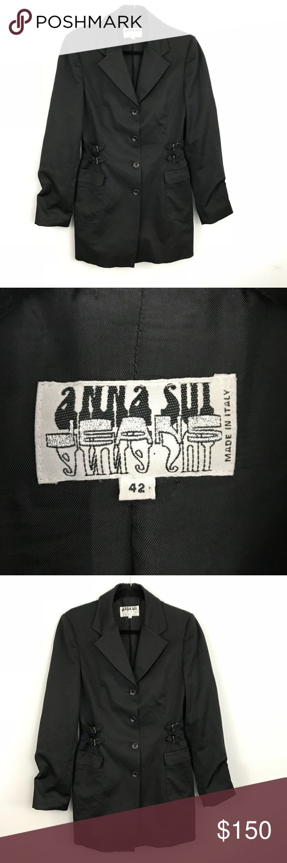 Vintage Anna Sui Black Trench Coat - Size 42 Vintage Anna Sui Black Trench Coat - Size 42  - Vintage Anna Sui Jeans - Made in Italy - Euro size 42 / US size 8 - Trench Coat Jacket - Button front - Notched Collar - Lined - Belt detailed sides - Vented back - Great condition Anna Sui Jackets & Coats Trench Coats