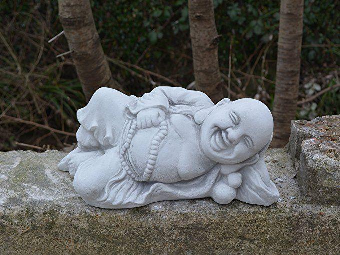 Lustiger Stein Buddha M/önch Gartendeko aus Steinguss frostfest