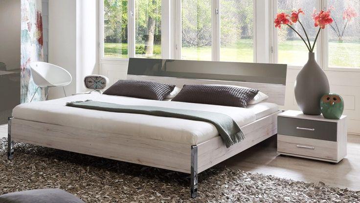 Rio - Komplet, postel 180 cm (dub bílý/macchiato lesk)