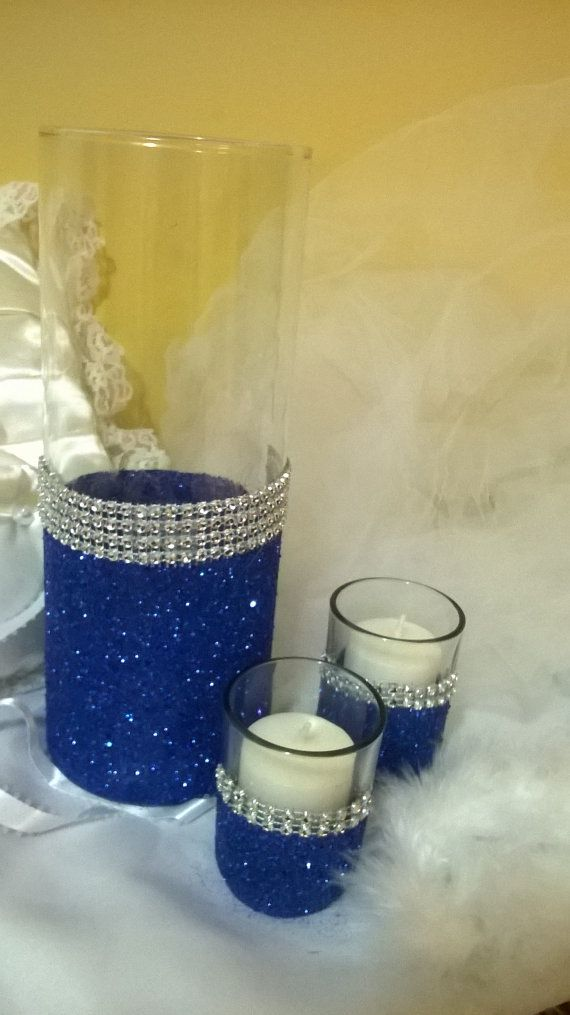 royal blue glitter vase wedding centerpiece by 1DesignCrafts
