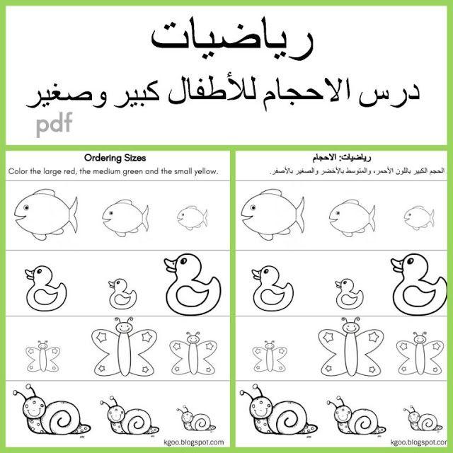 رياضيات درس الاحجام للاطفال ورقة عمل كبير وصغير Math For Kids Learning Activities