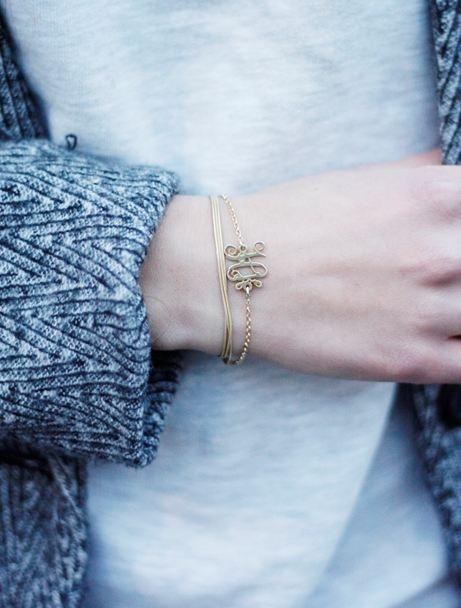 Monogramm Armband aus 750er vergoldetem Silber mit Initialen €34.90