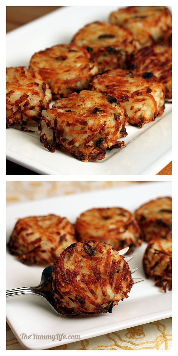 Fun serving idea for a party/brunch...Individual Parmesan Hash Brown Cups