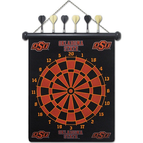 Oklahoma State Magnetic Darts: These magnetic dart boards offer all the fun and playability of regular darts with none of the damage to the wall surrounding the dart board! The game includes a magnetic hanging gameboard and 6 magnetic darts (3 of each 2 colors).  $29.99  http://www.calendars.com/Oklahoma-State-Cowboys/Oklahoma-State-Magnetic-Darts/prod1289050/?categoryId=cat00628=cat00628#