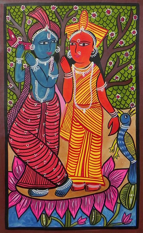 Lord Krishna and Radha - Bengal Folk Art or Kalighat Painting $46.00 only