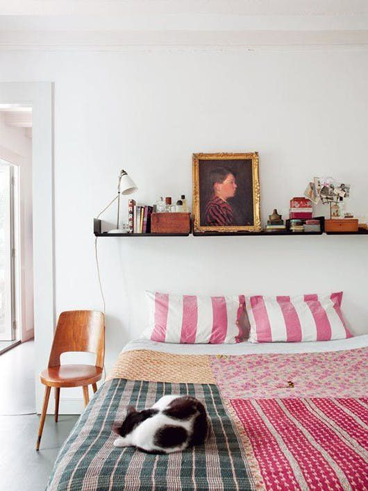 Ideas For What to Put Above Your Bed. if you want to jazz up your walls just a bit, there are a lot of creative ideas out there for how to fill the negative space. From cube shelving to gridded gallery walls to statement making tapestries, the options are a-plenty. | Apartment Therapy