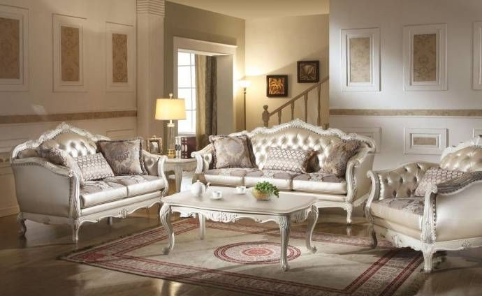 Rose Gold And Pearl White Living Room Set 2 Pcs Acme Furniture