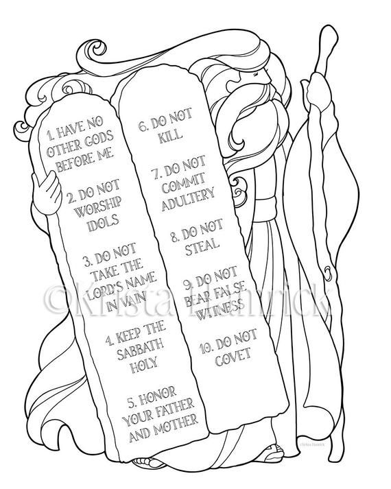 Moses And The Ten Commandments Coloring Page In Two Sizes Etsy Bible Coloring Pages Sunday School Coloring Pages Bible Coloring