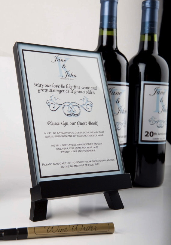 Wine Wedding Guestbook Guests Sign The Bottle Of For To Open In Future Guest Book Ideas Pinterest And