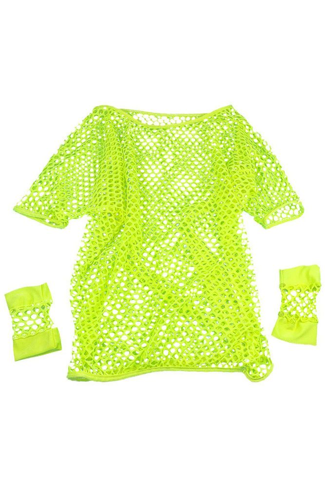 Ship 80s Mesh Top and Short Mesh Gloves Various Neon Colours -Yellow WS