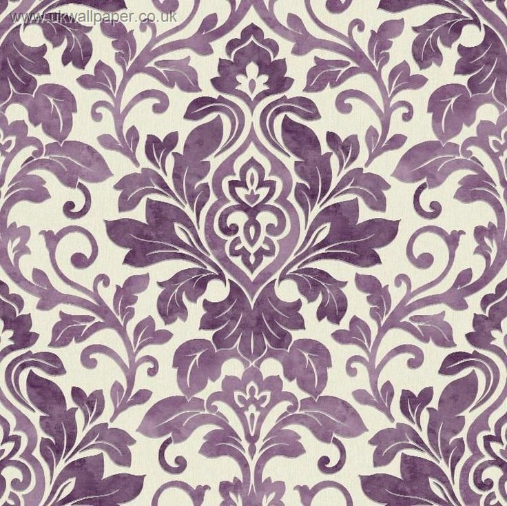 Mozart Damask Wallpaper Plum I like this for the top part of the wall above the dado rail