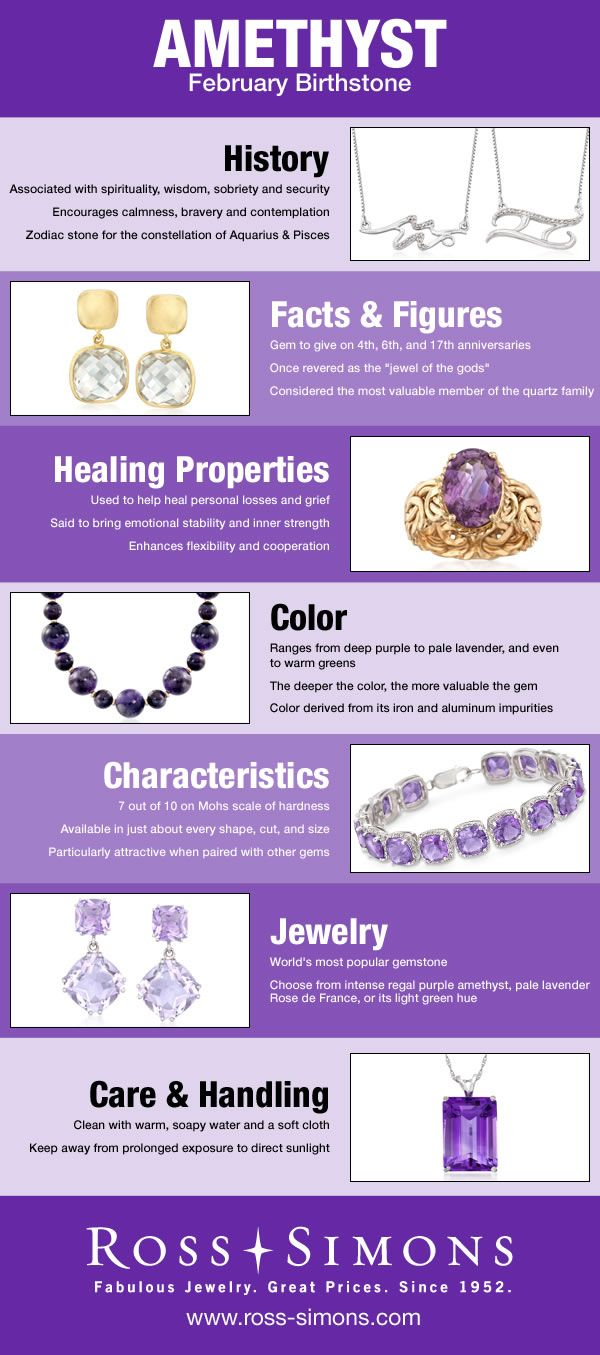 Learn about the history, facts, healing properties, color, characteristics and how to care for February's Birthstone, Amethyst.
