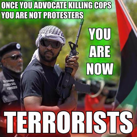 BLACK PANTHERS, BLACK LIVES MATTER Are promoting death to all White People & All White Cops!!! Yes this does make them a bunch of F**king Terrorist and should be dealt with as so!!! This would be treated a lot differently if it were White People Calling For The Deaths Of All Blacks!!!