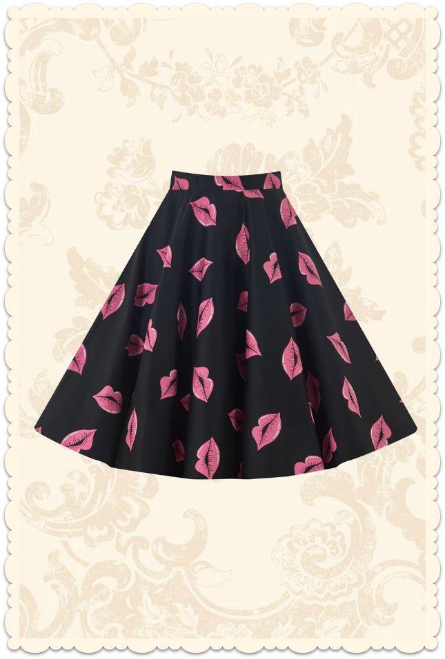 Jupe assiette swing années 50 Lips rose / noir - Vêtements/Jupes - Lady Vintage - missretrochic.com