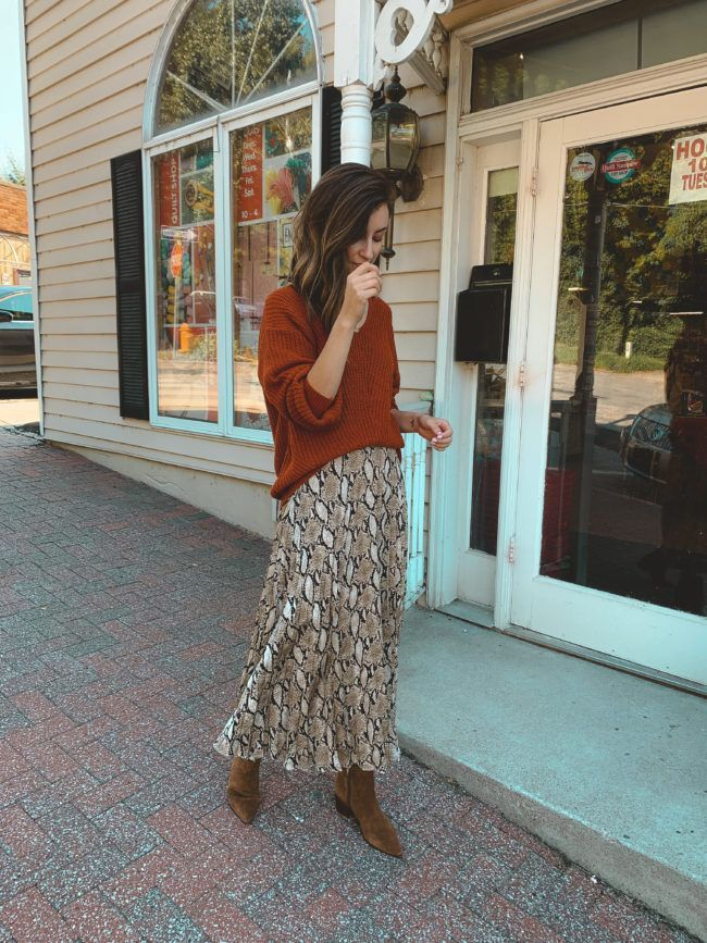5 Ways To Wear A Snakeskin Print Skirt This Fall Life On Shady Lane Printed Skirts Printed Skirt Outfit Skirts