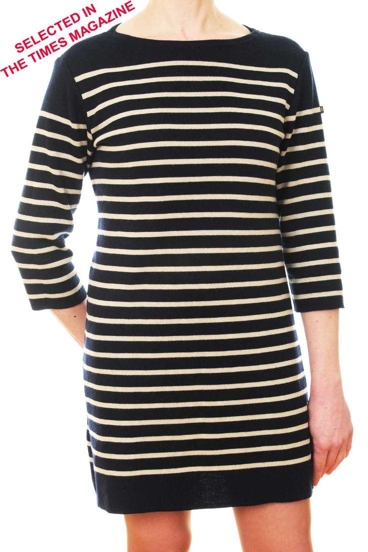 Authentic Navy Wool Knitted Nautical Striped Breton Tunic Dress | UK - THE NAUTICAL COMPANY