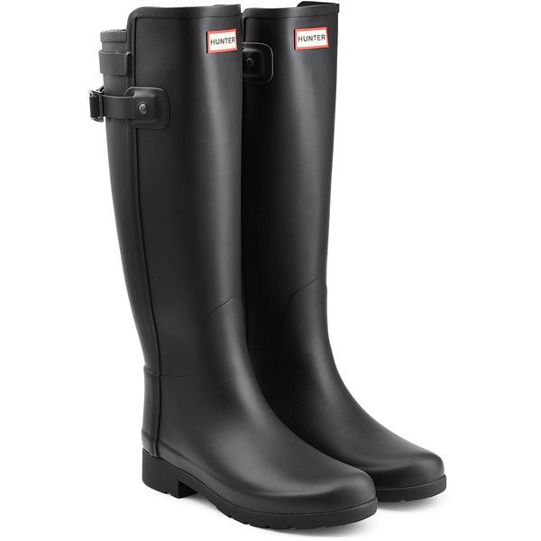 Hunter Tall Refined Back Strap Rubber Wellingtons (1 340 SEK) ❤ liked on Polyvore featuring shoes, boots and black